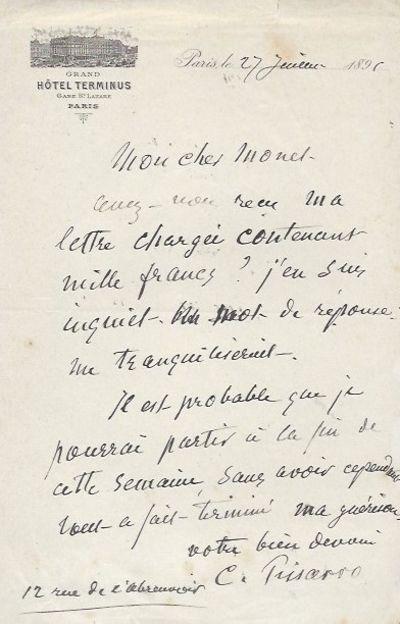Autograph letter to Claude Monet