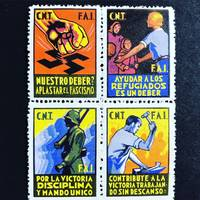 """A collection of approximately 600 viñetas or """"solidarity stamps"""" produced during the Spanish Civil war"""