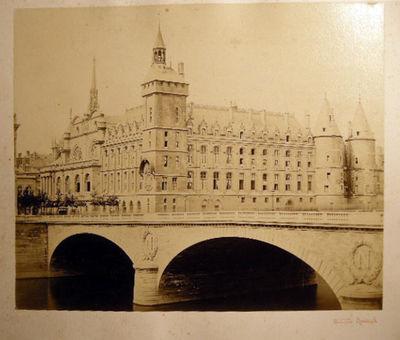 Paris, France: Achille Quinet, 1870. A large-format albumen process photographic image of the bridge...