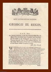 PEACE PRESERVATION (IRELAND) ACTS, 1812-1860. A good collection of 4 original Acts of Parliament
