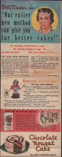 "Betty Crocker says: ""Our easier new method can give you far better cakes!""."