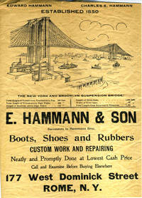 "Advertisement for E. Hammann & Son, Shoemakers of Rome, NY, with illustration of the ""New York and Brooklyn Suspension Bridge"""