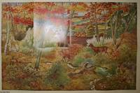 A.H. Hall. Artist. A Woodland Scene in Autumn 1953. A full colour original poster