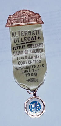 Alternate delegate... 15th Biennial Convention. Washington DC, June 3-7, 1968 [delegate ribbon]