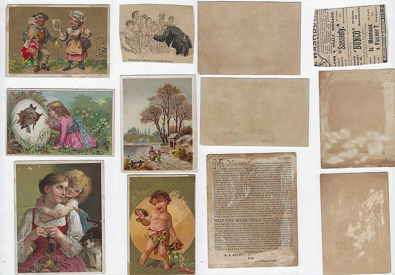 LOT OF SIX SCRAP VICTORIAN TRADE CARDS CHILDREN, MY MAMA, Advertisement