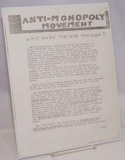 Niagara Falls, NY: Anti-Monopoly Committee, . 8.5x11 inch handbill, fold-creased, lightly worn else ...