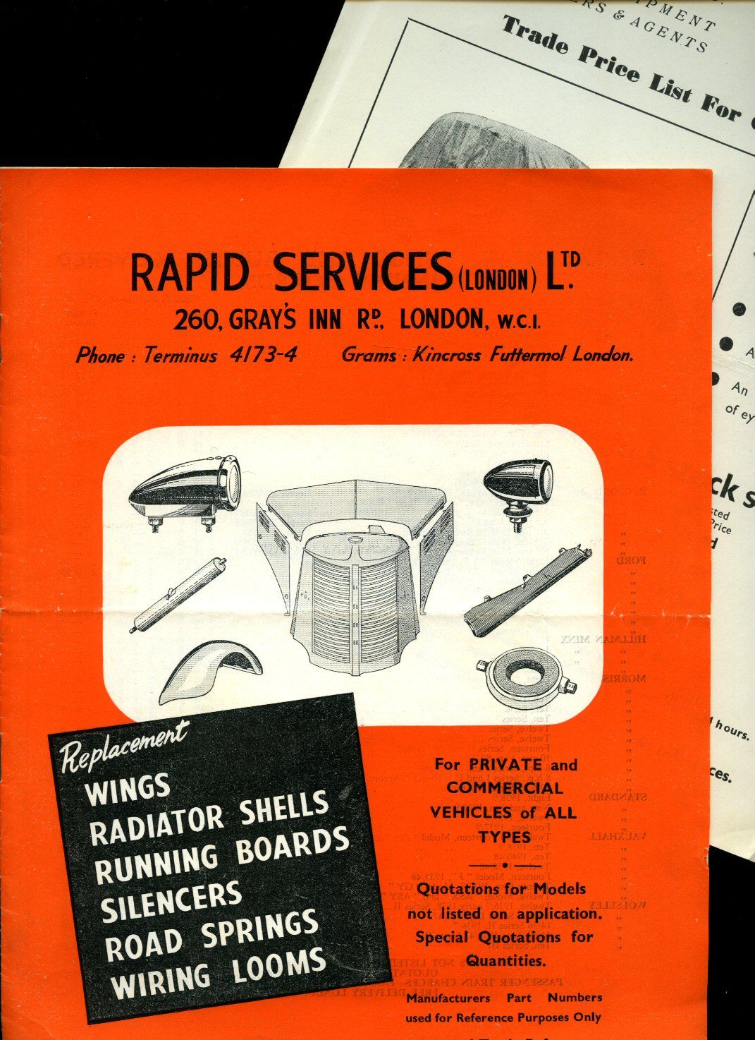 Rapid Services Ltd Brochure Catalogue For Replacement Wings Replacing Wiring Loom Radiator Shells Running Boards Silencers Road Springs Looms With Manufacturers