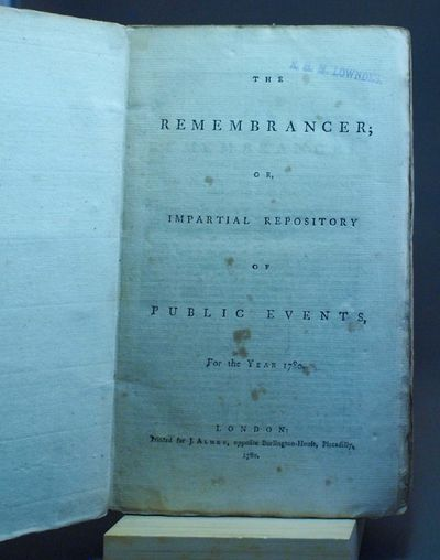 London: J. Almon, 1780. Good/Collection of documents, letters, reports, legal acts, and arguments fo...