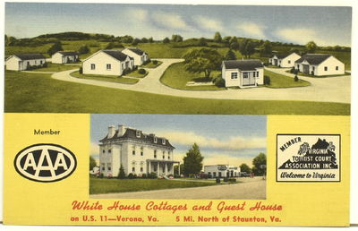 Color postcard, c. 1940. Advertising the White House Cottages and Guest House on Route 11 in Verona ...
