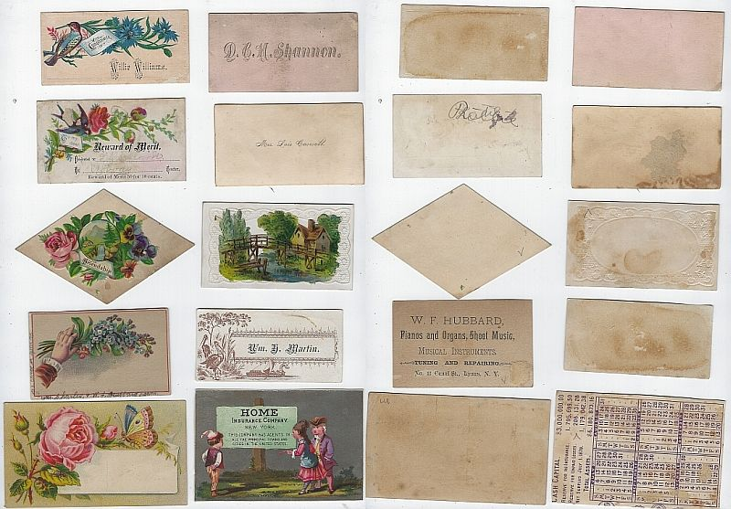 LOT OF TEN SCRAP VICTORIAN TRADE CARDS, CALLING CARDS AND REWARD OF MERIT, Advertisement