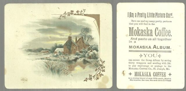 Image for VICTORIAN TRADE CARD FOR MOKASKA COFFEE WITH HOUSE IN WINTER LANDSCAPE