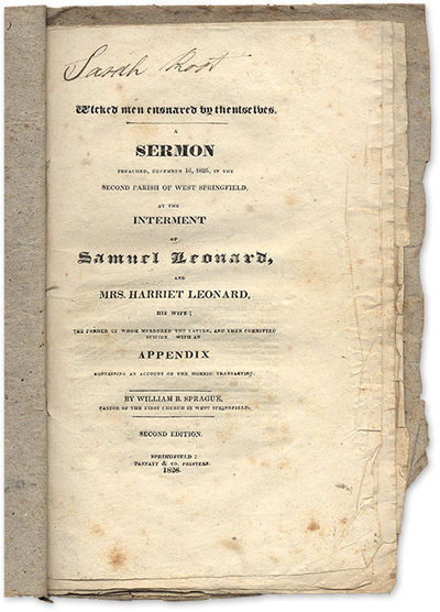 1826. Wicked Men Ensnared by Themselves, McDade 601. Sprague, William Buell . Wicked Men Ensnared by...