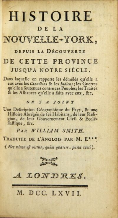 Londres, 1767. First French edition of the first history of New York, 12mo, pp. , -xvi, 415, ; full ...