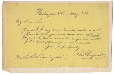 1865. Some light soiling, one small hole in blank lower margin. Oblong 8vo (5 x 8.25 inches), on yel...