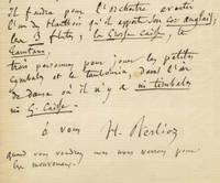 """Autograph letter signed """"H. Berlioz,"""" possibly to Georges Hainl, conductor of the Paris Opéra"""