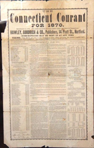 Hartford, 1869. Broadside (approx. 26