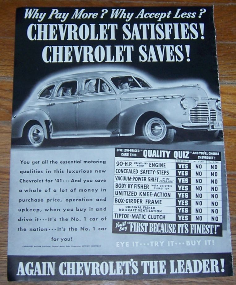 1941 CHEVROLET WORLD WAR II LIFE MAGAZINE ADVERTISEMENT, Advertisement
