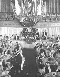 Photograph of interior view of banquet reception [at 1933 World's Fair?].