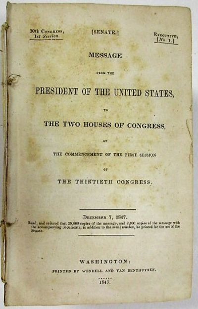 Washington: Wendell and Van Benthuysen, 1848. SED1. 1369, 249pp (consisting of 236pp Appendix to Rep...