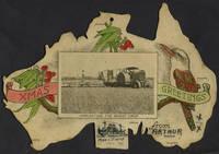 """Xmas Greetings"". Lithographed shape map of Australia"