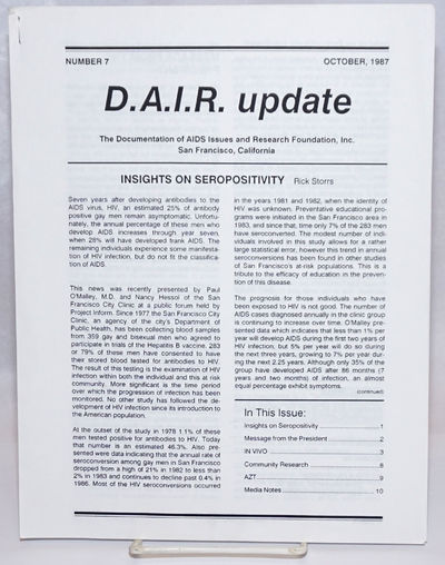 San Francisco: the Documentation of AIDS Issues and Research Foundation, 1987. 12p., 8.5x11 inches, ...