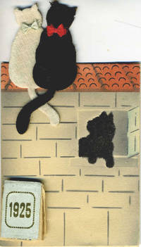 French die cut 1925 calendar with two cats on a roof, their tails intertwined