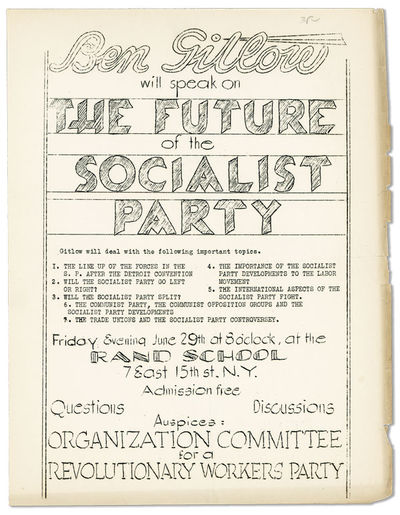 : Organization Committee for a Revolutionary Workers Party, n.d., ca. 1934. First Edition. Quarto br...