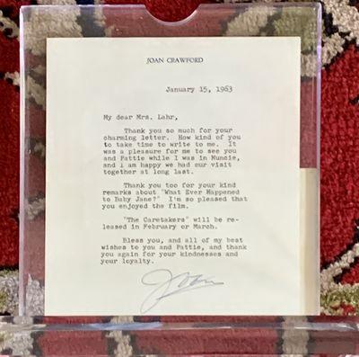 Original typewritten letter on Joan Crawford's letterhead dated January 15, 1963, to Bert Lahr's wif...