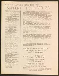 image of Martin Luther King Day to Support the Fired 33 [handbill]
