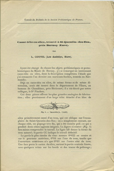 Le Mans, France: Imprimerie Monnoyer, 1909. Offprint. Stitched paper wrappers. A very good copy with...