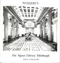 Sale 8/9 March 1979: Part II, The Signet Library Edinburgh. Catalogue of  Printed Books comprising approximately 25,000 vols., with extensive  collections of religion, literature, travel, biography, history, classics,  economics, and the fine arts, etc.