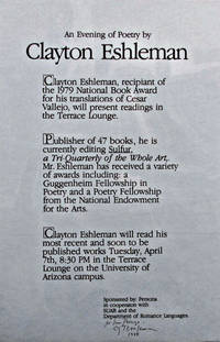 An Evening of Poetry by Clayton Eshleman