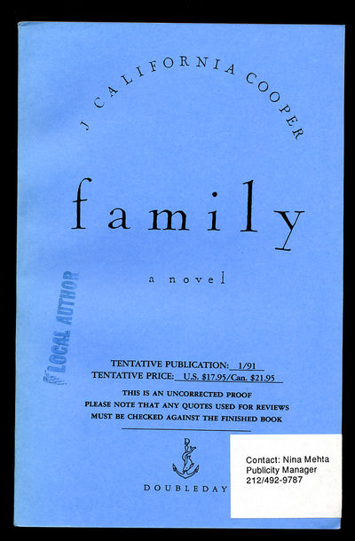 New York: Doubleday, 1991. Softcover. Fine. Uncorrected Proof. 233pp. Fine in wrappers.