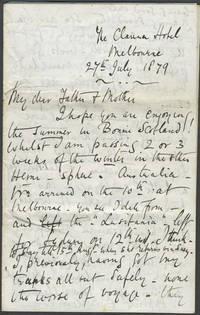 """Three letters relating to his immigration to New Zealand via Australia from Scotland, with some reference to the """"mismanagement"""" of the rescue of Burke & Wills"""
