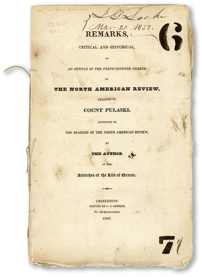 Charleston: C.C. Sebring, 1825. First Edition. Paperback. Pamphlet by a Justice of the Supreme Court...