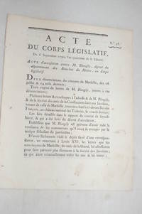 ACTE du corps législatif, du 6 septembre 1792, l'an quatrième de la...