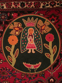 Original Old Huichol Our Lady Of Guadalupe Colored Yarns  Collectible