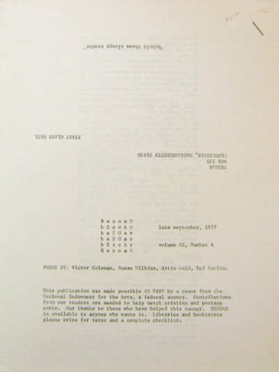 Gloucester: Bezoar, 1977. First edition. Paperback. Near Fine. * 1/2 x 11 sheets stapled at top fron...