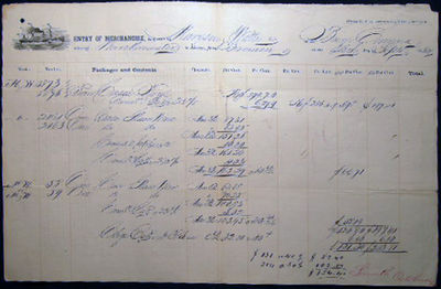 Philadelphia, PA: Not Published, 1862. Bill of lading & Entry of Merchandise form, completed in manu...