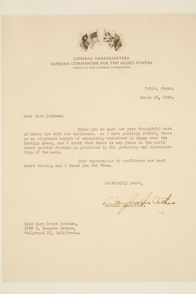 Typed letter signed by General...