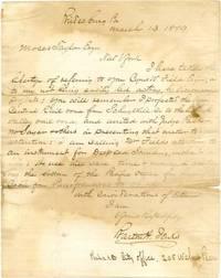 "ALS. 1pg. 8"" x 10"". March 13, 1879. Bridesburg, Pennsylvania. An autograph letter signed ""Bart..."