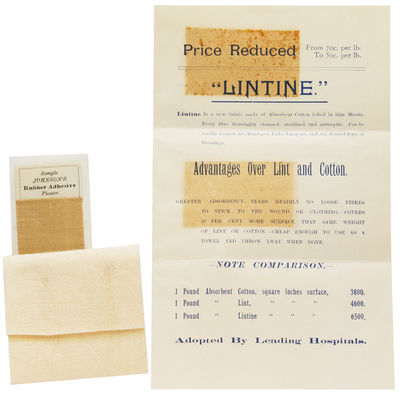 New Brunswick, NJ, 1890. 4pp. handbill, with a 3 x 7 inch sample of Lintine and 2-1/2 x 1-1/2 sample...
