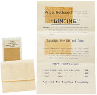 Price Reduced ... Lintine is a new fabric made of Absorbent Cotton felted in thin Sheets. Every fibre thoroughly cleansed, sterilized and antiseptic. Can be readily formed into Bandages, Pads, Tampons, and any desired form of Dressings