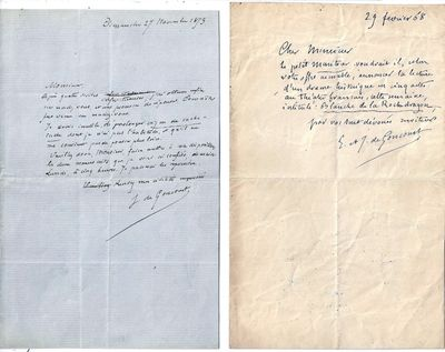 1853 & 1868. Letter. Creases from folding. Near Fine. Two one-page handwritten letters, both in Fren...