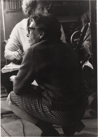 N.p.: N.p., 1969. Vintage borderless reference photograph of Marguerite Duras on the set of the 1969...