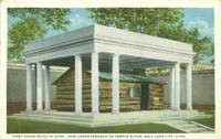 First House Built in Utah, Under Pergola on Temple Block, Salt Lake City, Utah Postcard