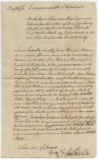 Very Early 1790s Naturalization...