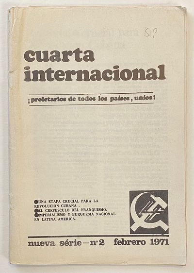 Brussels: , 1971. Single issue of the journal, 83p., staplebound wraps, the cover crinkled with tear...