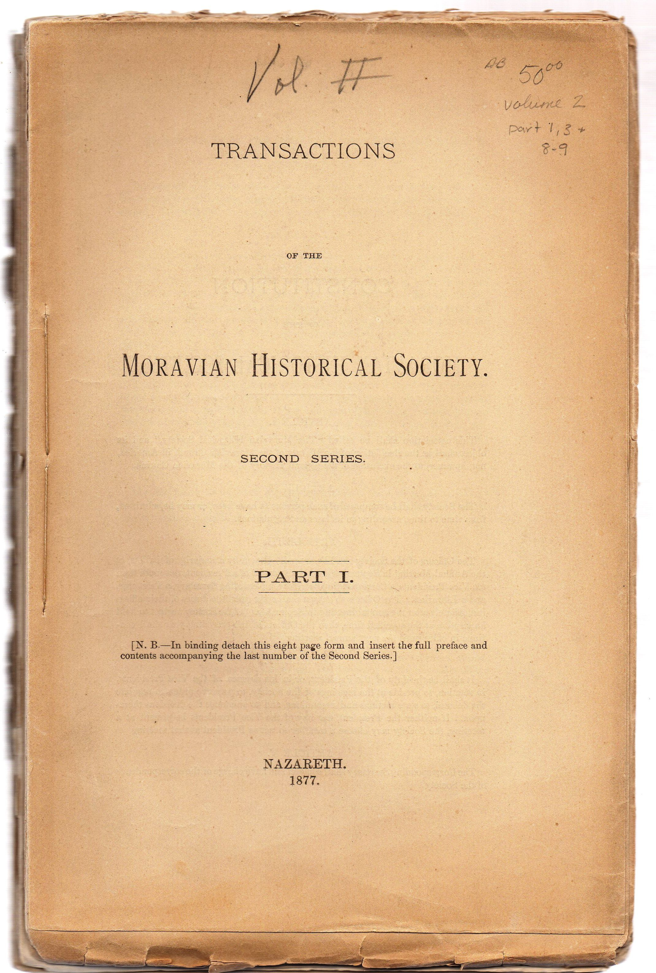 Transactions Of The Moravian Historical Society Vol 2