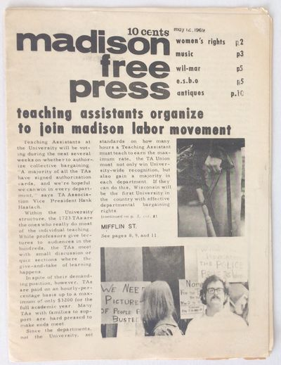 Madison, WI: the Press, 1969. 12p., 7.5x9.25 inches, mild handling and toning. Cover story on teachi...